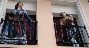 Balkon-Skulpturen bei Paseo Del Prado, Madrd Lizenzfreies Stockfoto
