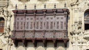 Balkon van de Aartsbisschop Palace van Lima, Peru stock afbeelding