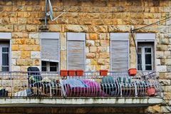 Balkon van oud huis Royalty-vrije Stock Fotografie
