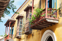 Balkon w Cartagena De Indias Fotografia Stock