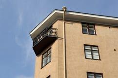 Balkon z forged downspout i grille Zdjęcia Stock