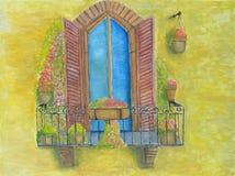 Balkon z kwiatami Zdjęcie Royalty Free