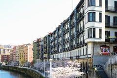 Balkone in Bilbao Stockfotografie