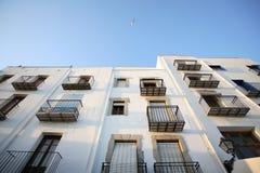 Balkone in der alten Stadt von Peniscola Stockfoto