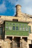 Balkone und Uhr-Kontrollturm von Valletta, Malta Stockbild