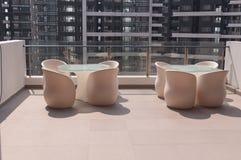 Balkong för nytt hus Arkivbild