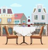 Balkong för tappningstilvektor med tabellen och stolar Färgrikt diagramlägenhetbegrepp av terrass- och stadsbakgrund stock illustrationer