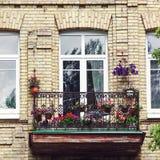 Balkong med blommor på sommartid Fotografering för Bildbyråer