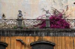 Balkong med bouganwillea Royaltyfri Fotografi