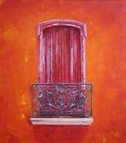 Balkong med en stängd dörr på en röd vägg Royaltyfri Bild