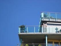 Balkong med exponeringsglasframdelen och växter (himmel) arkivbild