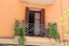 Balkong med luftventildörrar och växter i Barcelona, Spanien Royaltyfri Foto