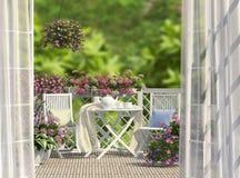 Balkong och blommor Royaltyfria Foton