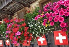 Balkong och flaggor på chalet i schweiziska fjällängar Arkivfoto
