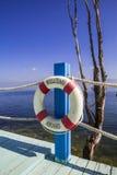 Balkongen med havet beskådar och sänder säkerhetscirkeln Royaltyfria Bilder