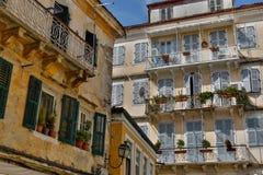Balkonger i Grekland Royaltyfri Bild