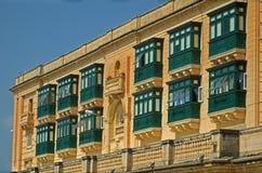 Balkonger i Valletta, Malta Arkivbilder