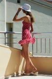 balkongflicka Fotografering för Bildbyråer