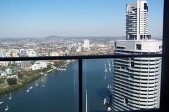 Balkongsikt över stad Royaltyfri Bild