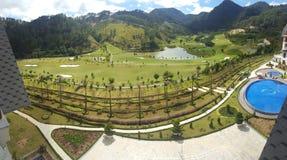 Balkongsikt från en semesterort Royaltyfri Foto