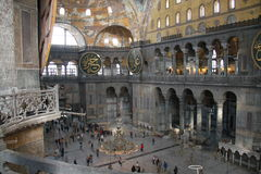 Balkonmening binnen Aya Sophia-museum in Istanboel, Turkije Stock Fotografie
