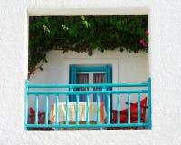 balkonowy błękitny zieleni dachu biel Obrazy Royalty Free