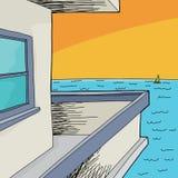 Balkonowy widok ocean Obrazy Stock