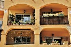 Balkons in Malaga Spanje Royalty-vrije Stock Afbeeldingen