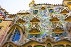 Balkons van de bouw van Casa Batllo in Barcelona in Spanje Royalty-vrije Stock Foto