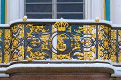 Balkony do eremitério do pavilhão no parque de Catherine em Tsarskoe Selo no inverno pushkin St Petersburg Rússia imagem de stock royalty free