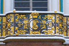 Balkony of Pavilion Hermitage in Catherine park at Tsarskoe Selo in winter. Pushkin. Saint Petersburg. Russia