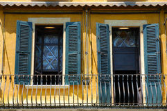 Balkony at a poet's house. Balkony, door and window at the picturesque house of the poet Gabriele D'Annunzio, Gardone Riviera, Lake Garda, Italy.The window-glass Stock Photos