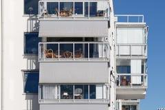 Balkony van mooie moderne flats in Zweden Royalty-vrije Stock Afbeelding