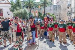 ball在Festa少校的de Diables在Sitges,西班牙 库存照片