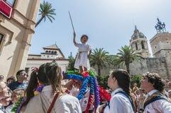 ball在Festa西班牙少校的Sitges的, de Cercolets 免版税库存照片