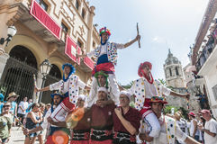 ball在Festa西班牙少校的Sitges的, de Moixiganga 免版税库存照片