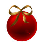 Ball. Red Christmas ball with ribbon golden stock illustration