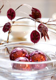 Ball. Christmas table decoration. Three ball in the glass bowl Royalty Free Stock Photo