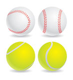 Ball. Four balls. two balls baseball, two balls tennis Royalty Free Stock Image