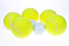 Ball. Tennis ball, and golf ball close up Stock Photography