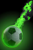 Ball. Magical fiery soccer ball. 3d image Stock Photography