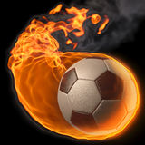 Ball. Flaming soccer ball. isolated on black Stock Image