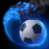 Ball. Magic soccer ball in the blue flame Royalty Free Stock Photos