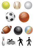 Ball. Collection of sports items, ball Stock Photos
