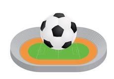 Ball above stadium. Vector illustration Stock Images
