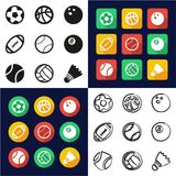 Ball All in One Icons Black. This image is a vector illustration and can be scaled to any size without loss of resolution stock illustration
