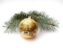 Ball And Fir Branch Royalty Free Stock Photos