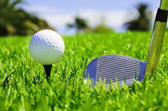Ball And Golf Clubs Stock Photos