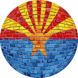 Ball with Arizona flag - Illustration. NArizona flag sphere in brick style, nAbstract Grunge brick flag of Arizona in circle Royalty Free Stock Photography
