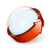 Ball and arrow icon. A solid ball or sphere surrounded by an orange arrow Stock Photo